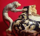 GROTESQUE ostrich teapot antique french faience gien majolica monkey vtg pottery