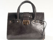 New  Jimmy Choo Rosalie Lizard Print Dark Gray Leather  Satchel