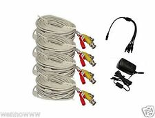 4x White 60ft BNC Cable & 3A Power for Security CCTV use / Zmodo /Swann /Qsee