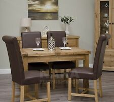 Grandeur solid oak furniture extending dining table and four leather chairs set