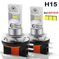 2X H15 LED CSP 6SMD Headlight Car Fog Daytime Running Light Bulb DRL White Lamp