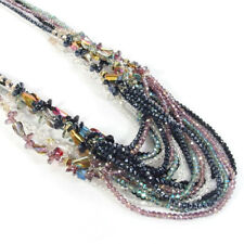 4 Layers Czech Rondelle Crystal & Twist Beads Charms Long Necklace 30""