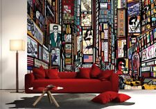 Giant Wall mural photo wallpaper New York streets cartoon Black Red 2 sizes