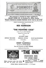 REX HARRISON-FIGHTING COCK-1961 WALNUT THEATRE/PHILADELPHIA PLAYBILL-RARE