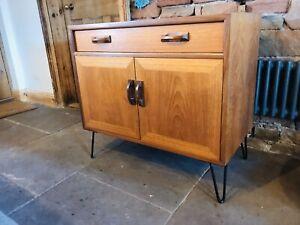 Vintage Mid Century G-Plan Sideboard Teak Scandi Record Cabinet Hairpin Legs