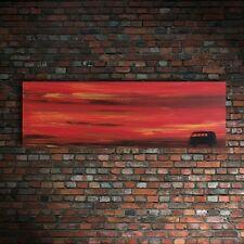 *SALE- WAS £79.99* GORGEOUS PAINTING VW VOLKSWAGEN CAMPER VAN PAINTING AT SUNSET