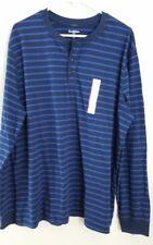 NEW Target Mens Blue Striped Long Sleeve Henley T Shirt size XXL 2XL