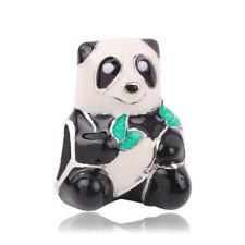 1pcs European panda Silver CZ Charm Beads Fit 925 Necklace Bracelet Chain DIY