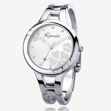 Uhr Armbanduhr Damen Edelstahl Kimio Silber Quarz Spangenuhr Armreif rund weiß