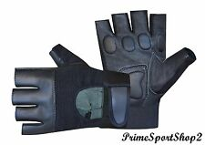 Leather Fingerless Mens WeightLifting Training Gloves Black Cycling Wheelchair