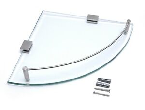 Wall Mounted Clear Glass Corner Shelf Various Chrome Supports Metal Rail