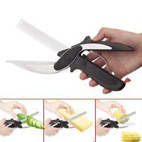 2 In 1 Kitchen Knives Kitchen Meat Scissors Knife&Board Stainless Steel Kitchen