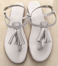 Ladies Country Road White Leather Tassel Sandals 6