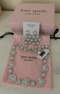 Kate Spade Garden 14k White Gold Filled Crystal Necklace Earrings Set NWT