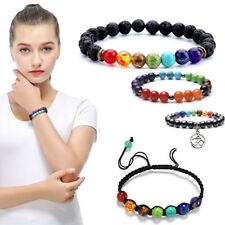 Chakra Bracelet Healing Lava 7 Natural Stones Beads Oil Diffuser Aromatherapy