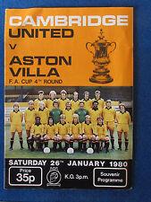Cambridge United v Aston Villa - FA Cup 4th Round Programme - 26/1/80 - A4