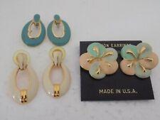 Vintage Lot of 3 Pairs- Gold Tone Enamel Pierced Earrings #1139