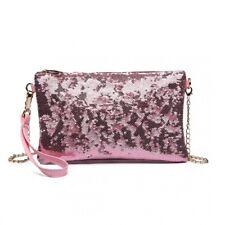Elegante Pailletten Clutch Abendtasche Pink Tasche klein Partytasche Party