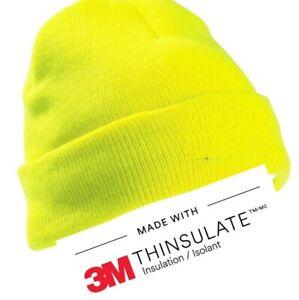 Child Hi Viz Visibility Thinsulate Lined Beanie Hat Orange or Yellow