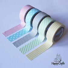 Polka Dot Pin Stripe Pastel Washi Tape 5 Pack 15mm