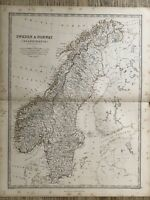 1869 SWEDEN NORWAY ANTIQUE HAND COLOURED MAP BY A.K. JOHNSTON 150 YEARS OLD