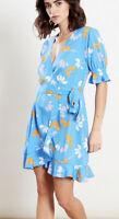 Influence Wrap Dress Size 8 & 12 Blue Floral Frill Hem Dress New HB97
