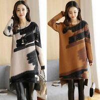 Fashion Womens Autumn Winter Printed Loose Long Sleeve Straight Mini Dress