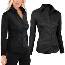 Camicia Donna Manica Lunga Cotone Elastico Comfort Stretch Tinta Unita 2111IT