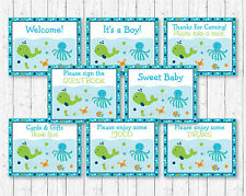 Blue Under The Sea Baby Shower Table Signs - 8 Printable Signs