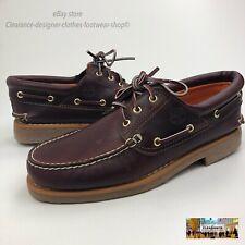 TIMBERLAND Classic Boat Shoe Handsewn 3 EYE Premium Brown Mens Leather RRP £120