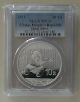 2014 CHINA PANDA 1 OZ SILVER COIN PCGS MS 70 PANDA'S ASIA CHINESE PRC 10 YUAN Yn
