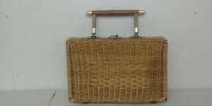 Vintage Wicker Rattan Woven Basket Box Purse With Wooden Handle Shelf 5