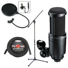 Audio-Technica AT2020 Recording Condenser Microphone w/ Stand Cable & Filter