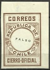 CHILE, OFFICIAL SEAL, ESSAY, SCARCE PIECE, MNH, FULL GUM, YEAR 1900, BROWN