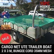 CARGO NET 2X3 UTE TRAILER TRUCK 2MX3M NYLON 35MM MESH BUNGEE CORD FREE 15PC HOOK