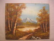 vintage painting artwork canvas original signed art fall mountain nature scene