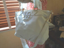 NWT TORY BURCH STACKED T SMALL SATCHEL IVORY Pebbled Leather $450 DustBag