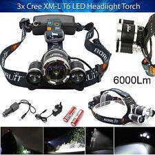 New LED Headlight Torch 6000Lm 3x Cree XM-L T6 Headlamp Head Light Lamp UK Stock