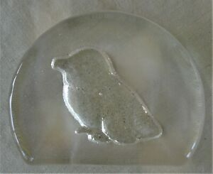 ENGRAVED GLASS PENGUIN PAPERWEIGHT
