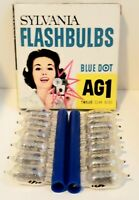 Vintage Sylvania Flashbulbs Blue Dot AG1 NEW/OLD for film camera 12 bulbs in box