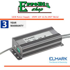 ALIMENTATORE TRASFORMATORE 150W 12.5A DC12V AC240V METALLO IP67 STRIP LED ELMARK