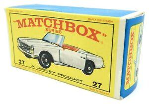 Vintage MATCHBOX SERIES No. 27 Mercedes Benz 230 SL Car Box Only LESNEY