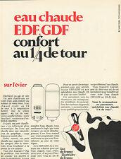 Publicité Advertising 1968  eau chaude EDF / GDF