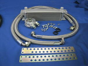 MG MIDGET 1500 10 ROW OIL COOLER KIT STAINLESS BRAIDED HOSES    A1A