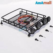 1/10 RC Metal luggage roof rack w/ led light bar- rc crawlers Tamiya Axial RC4WD