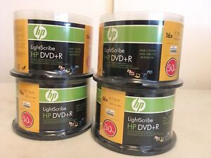 FOUR (4) BRAND NEW! HP LightScribe DVD+R Discs 4.7GB 120min 50 Packs