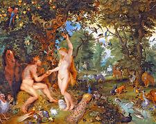 Adam & Eve In Garden Of Eden Bible Torah Genesis Painting 8x10 Canvas Art Print