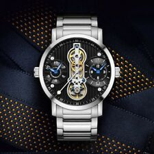 Tourbillon Automatic Mechanical Mens Watch Luxury Swiss Sapphire Crystal Steel
