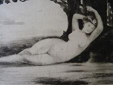 att Joseph Apoux (1846-c1880) GRAVURE ORIGINALE FEMME NUE CURIOSA PAYSAGE 1880