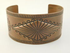 SOLID COPPER NAVAJO CUFF BRACELET WIDE ARTISAN HANDCRAFTED
